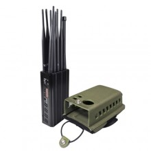 10 Antennas Plus Portable Mobile Phone Signal Jammer LOJACK GPS Wi-Fi Signal Blocker Bigger Hot Sink & Battery 7Watt Jamming up to 20m