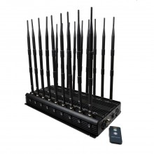Newest Remote Controlled 18 Antennas High Power Cell phone Signal Jammer WiFi Lojack VHF UHF All GPS Bands Blocker